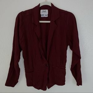 Flax Rayon Cinched Long Sleeve Jacket Blouse Brown
